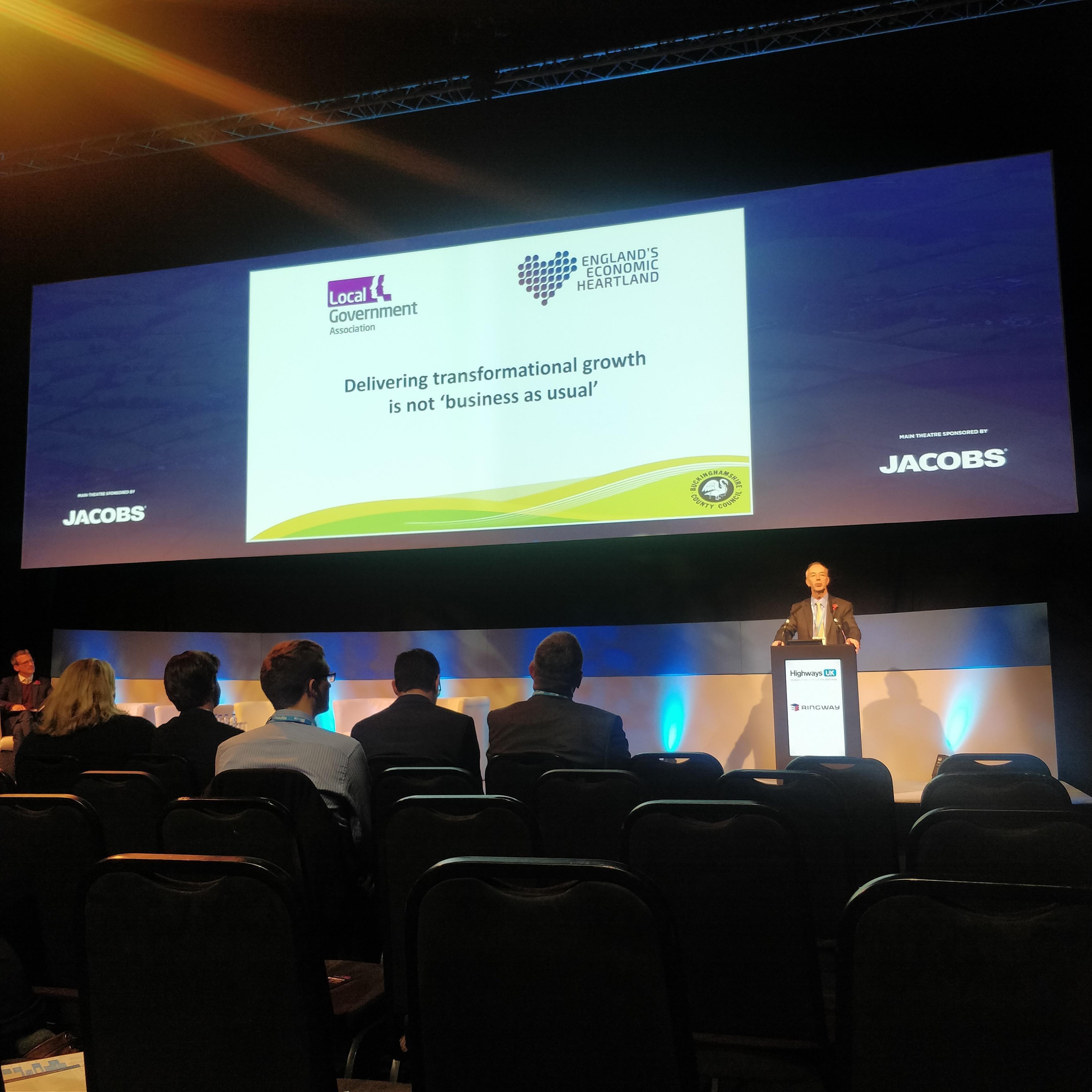 Cllr Martin Tett delivering a presentation at Highways UL 2018